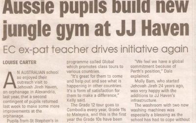 Aussie pupils build new jungle gym at JJ Haven